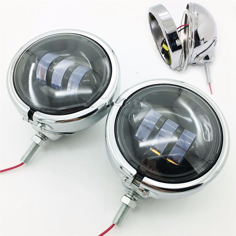 """Pair 4-1//2/"""" 4.5/"""" LED Auxiliary Motorcycle Fog Driving Light For Harley-Davidson"""