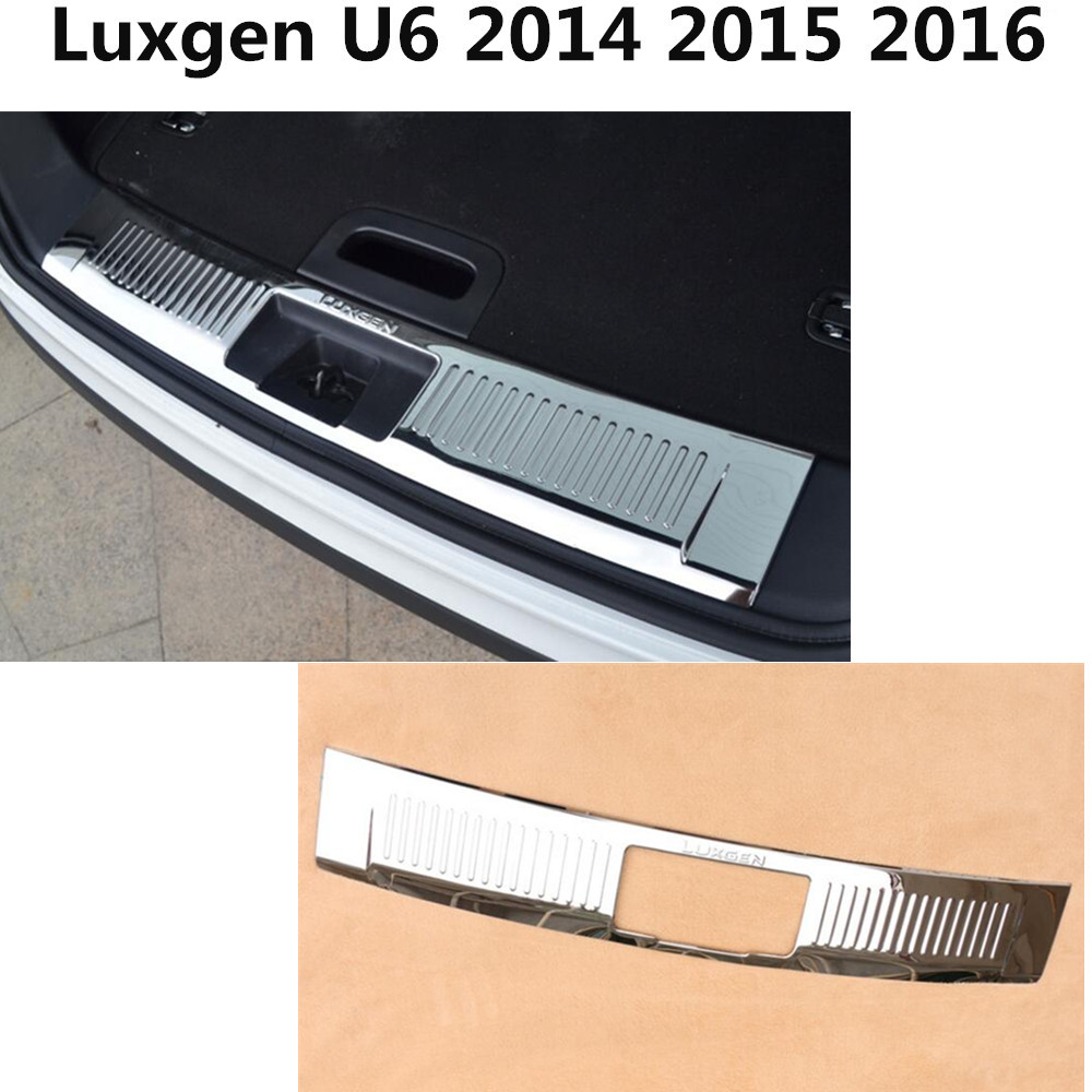 Top Quality inner Rear Bumper Protector trim car cover Stainless Steel plate threshold pedal 1pcs For Luxgen U6 2014 2015 2016 car styling cover detector stainless steel inner built rear bumper protector trim plate pedal 1pcs for su6aru outback 2015