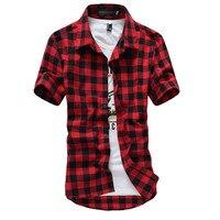 Plaid Shirt Men Shirts 2016 New Summer Fashion Chemise Homme Mens Checkered Shirts Short Sleeve Shirt
