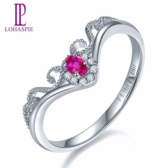 c6eb11558 Lohaspie Solid 18K White Crown Engagement Rings Gold Natural Gemstone Ruby  Fine Diamond-Jewelry For Women Online Best Buy Gift