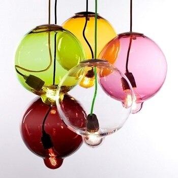 Iwhd الزجاج الكرة الصمام شنقا مصباح قلادة أضواء غرفة المعيشة الحديثة الإبداعية اللون hanglamp نوم بار تعليق الإنارة