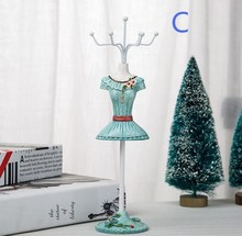 1pc 25*7.5cm Bule home Creative princess Sequins Ornament jewelry rack mannequin body Necklace Display Holder Ring storage  C550