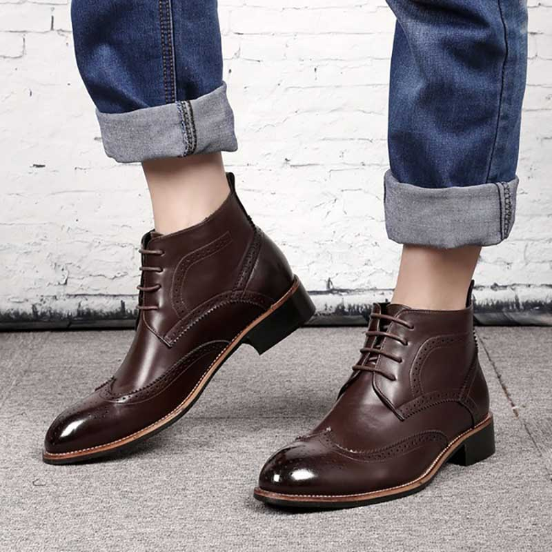 COSIDRAM Male Pu Leather Lace-up Boots Men Sewing Western Style Ankle Boots Combat Boots BRM-071