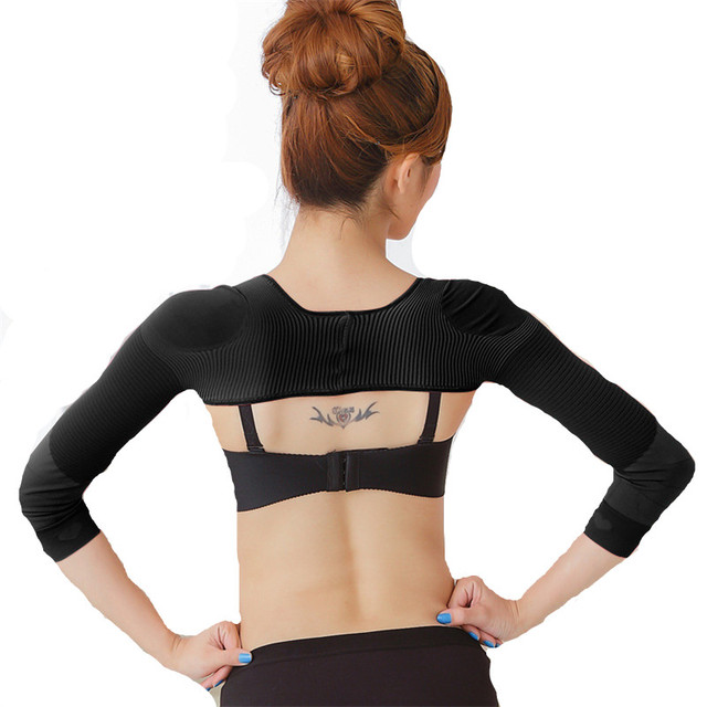 a8a09b822961e Woman Shoulder Posture Corrector Back Lift Slimming Shaper Arm Warmer  Slender Massager Thermo Belt Compression Shapewear