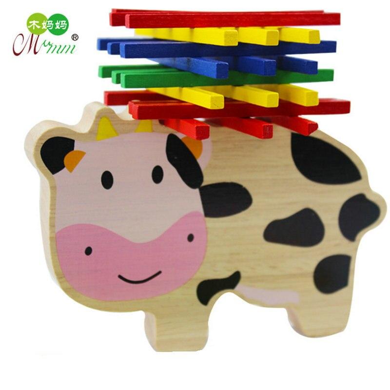 El envío libre de los niños vaca equilibrio rompecabezas de madera ...
