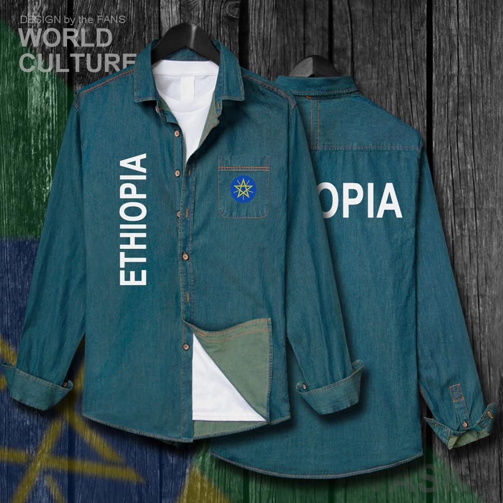 Äthiopien Äthiopischen Horn Von Afrika Eth Et Männer Jacke Fahnen Kleidung Herbst Drehen-unten Kragen Jeans Hemd Langarm Cowboy Mantel 20