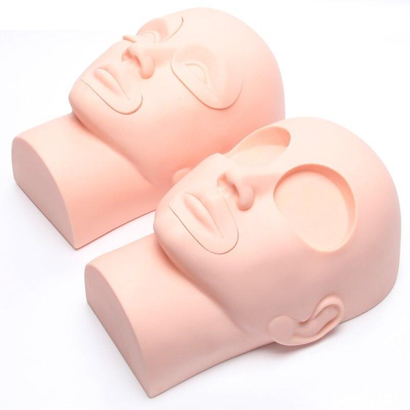 실리콘 눈썹 입술 얼굴 연습 마네킹 훈련 머리 마네킹 메이크업
