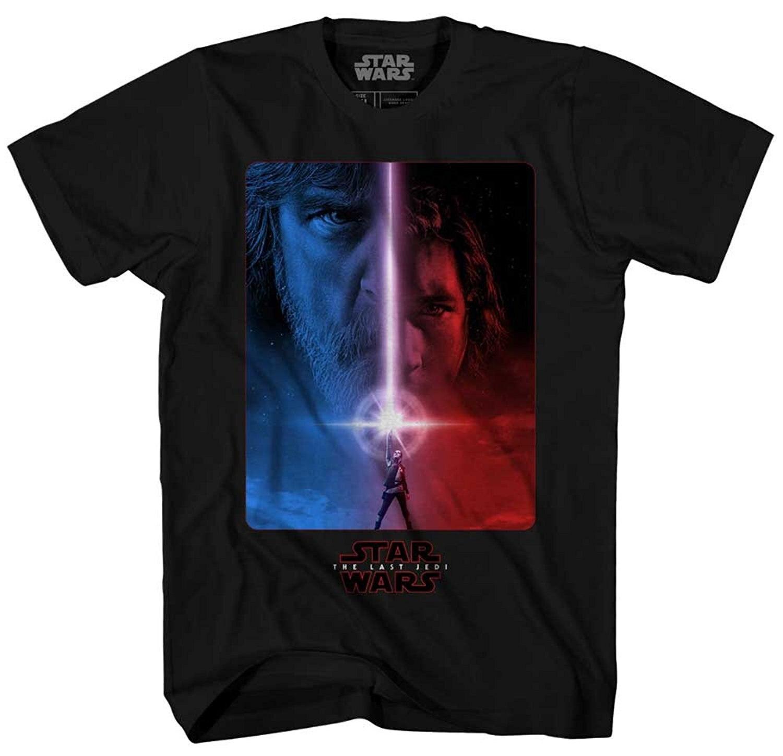 Star Wars El último Jedi película cartel Lightsaber rey Luke Skywalker Kylo Ren adulto hombres camiseta gráfica t-shirt ropa