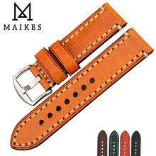 MAIKES Watch Accessories Leather Strap For LUMINOX HAMILTON Watch Band 20mm 22mm 24mm 26mm Wristband Bracelet Watchband maikes watch accessories unchangeable color stable genuine leather 22mm 24mm 26mm watchband watch strap