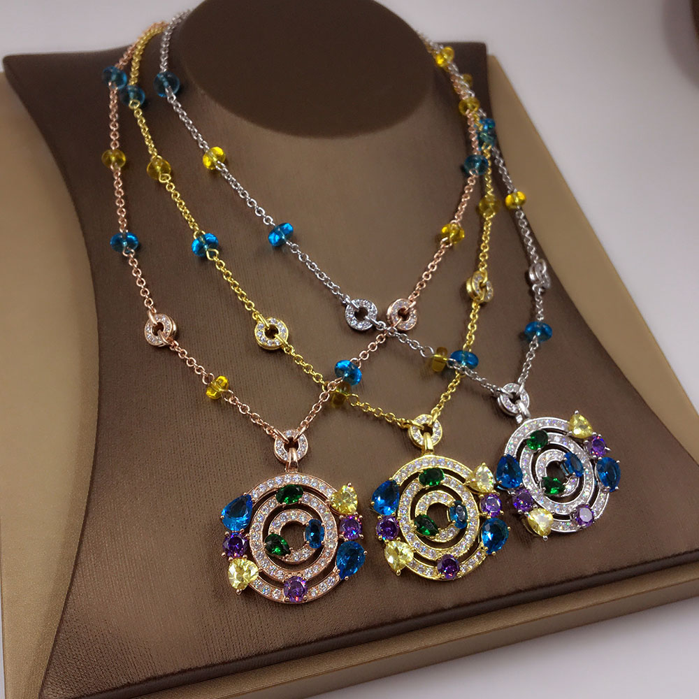 New Pure 925 Sterling Silver Fashion colour zircon roundel Necklace Party Jewelry Luxurious Gold circle Sweater