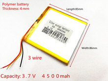 3 wire Free Shipping 3.7V 4500mAH 408686 408586 408585 Polymer lithium ion / Li-ion battery for tablet pc Liter energy battery