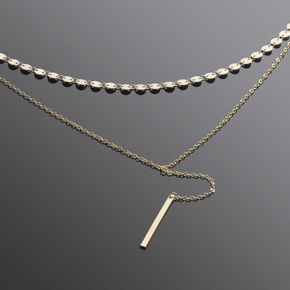 FAMSHIN Fashion Boho Coin Choker Layered of 2 Necklace Set Y Lariat Silver Bar Pendant Necklace Girlfriend Gift