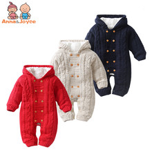 Thick Warm Infant  Newborn Baby Boy Girl Knitted Sweater Jumpsuit Hooded Kid Toddler Outerwear Rompers Winter Clothes