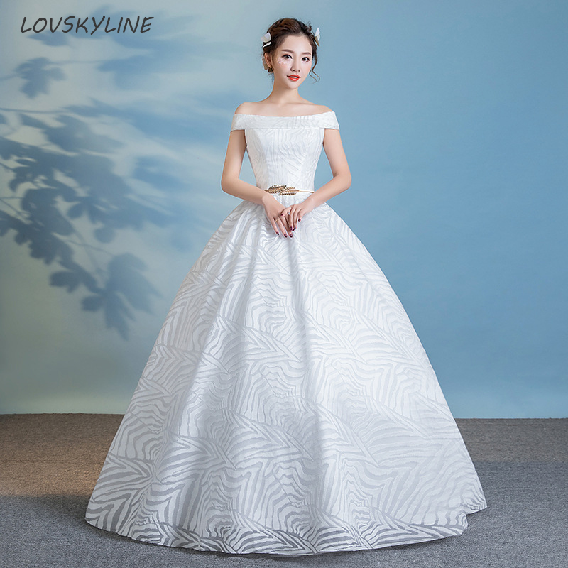 Lace Boho Wedding Dress Boat Neck Short Sleeves Pattern Metal Sashes ...
