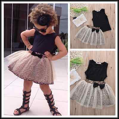 2016 Newest Baby Kids Girls Black Sleeveless Round Collar Top+Leopard Lace Skirt 2Pcs Suit Outfit Set 0-5Y stylish round collar sleeveless lace spliced women s jumpsuit