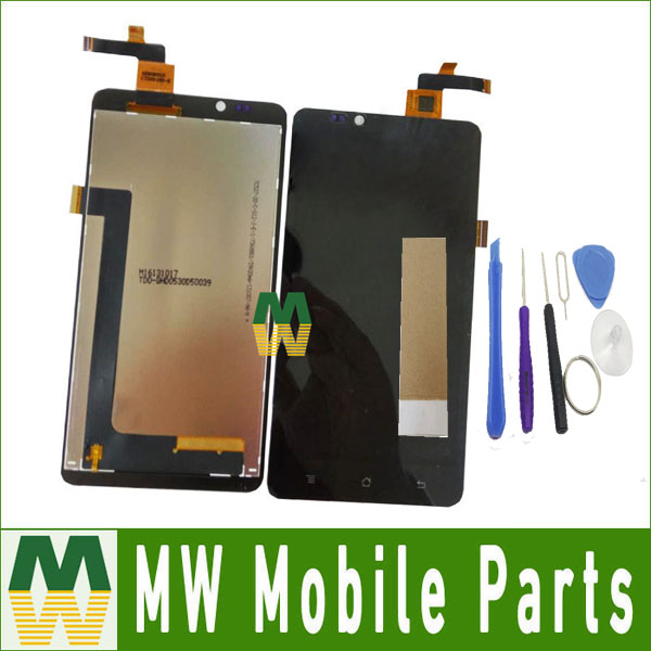 High Quality 1PC /Lot For Highscreen Omega Prime XL LCD Display +Touch Screen Assembly Digitizer with Tools +Tape Black color