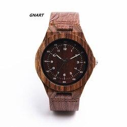 GNART 499 hombres relojes reloj masculino militar reloj de madera analógico de cuarzo luz peso de reloj de pulsera vintage para hombres