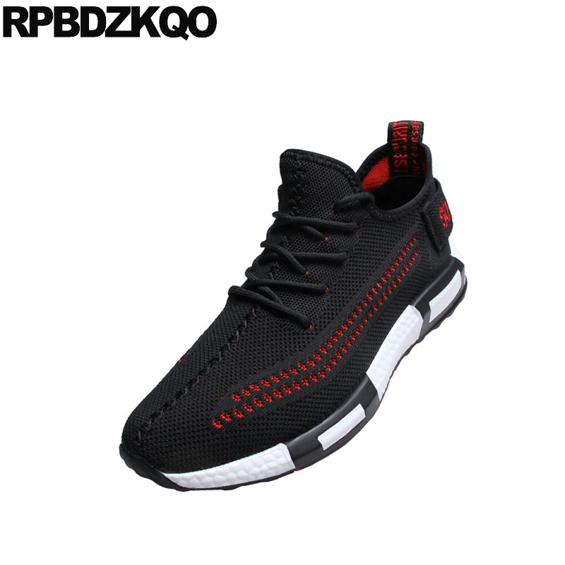 Nova Casuais Venda Até Homens Marca De Europeu branco Rendas Designer Pista Respirável black Hot Malha Preto Moda Formadores Verão Sneakers 2018 Meninos Sapatos Red HwwZFq6Tx4