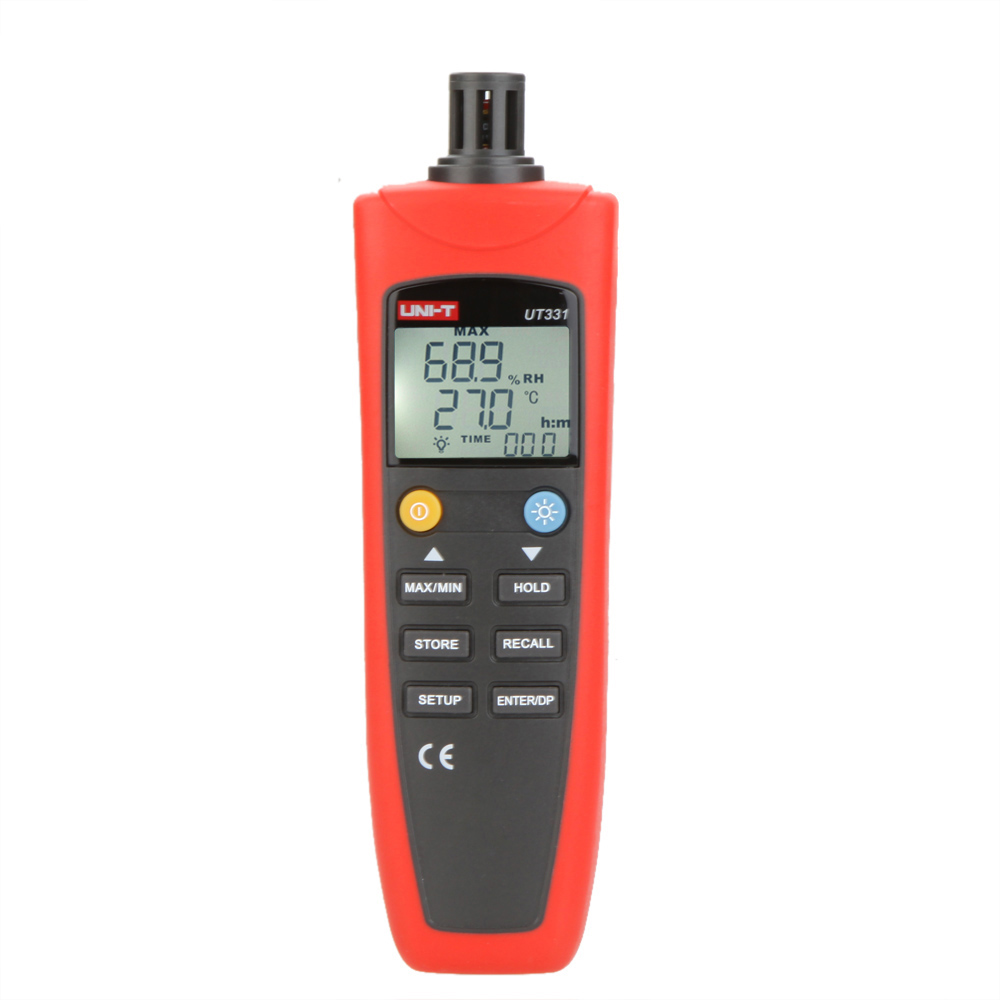 UNI-T UT331 Digital Thermo-hygrometer Thermometer Temperature Humidity Moisture Meter Tester w/LCD Backlight &amp USB mc 7806 digital moisture analyzer price with pin type cotton paper building tobacco moisture meter