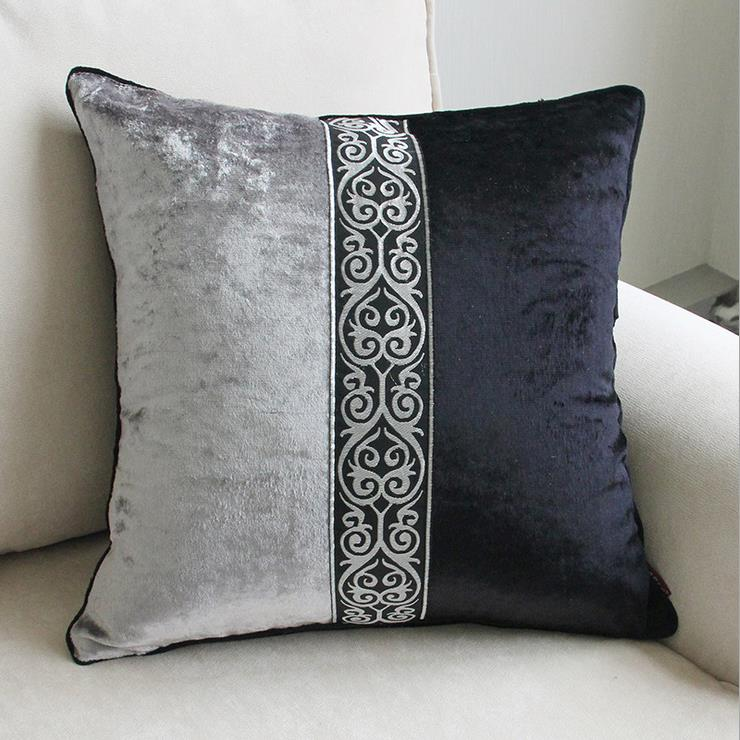 Luxury Decorative Bed Pillows : European Style velvet Luxury Black Grey Printing Home/Office/Sofa/Bed Decorative Cushion Cover ...