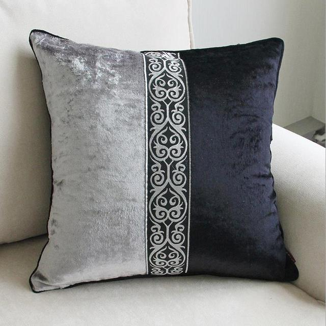 European Style Velvet Luxury Black Grey Printing HomeOfficeSofa Simple Grey Decorative Bed Pillows