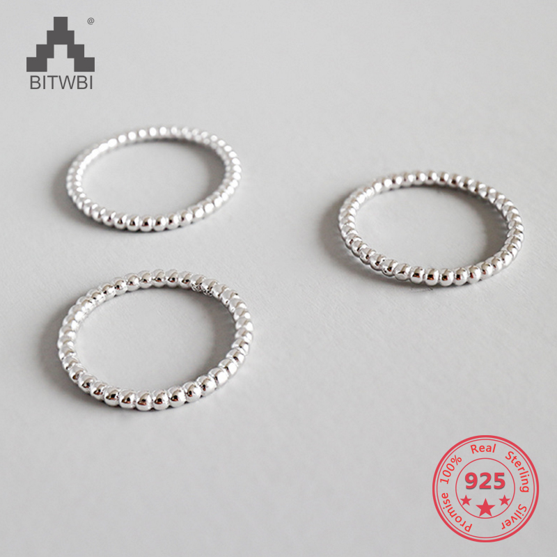 100% S925 Sterling Silver Slim Stacking Beaded Rings For Women Full Bead Wire Rings For Women