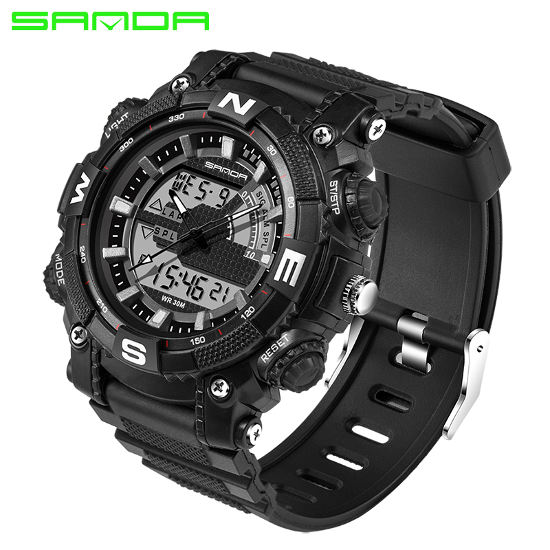 SANDA Military Sport Watch Men Top Brand Luxury Famous Electronic LED Digital Wrist Watch For Men