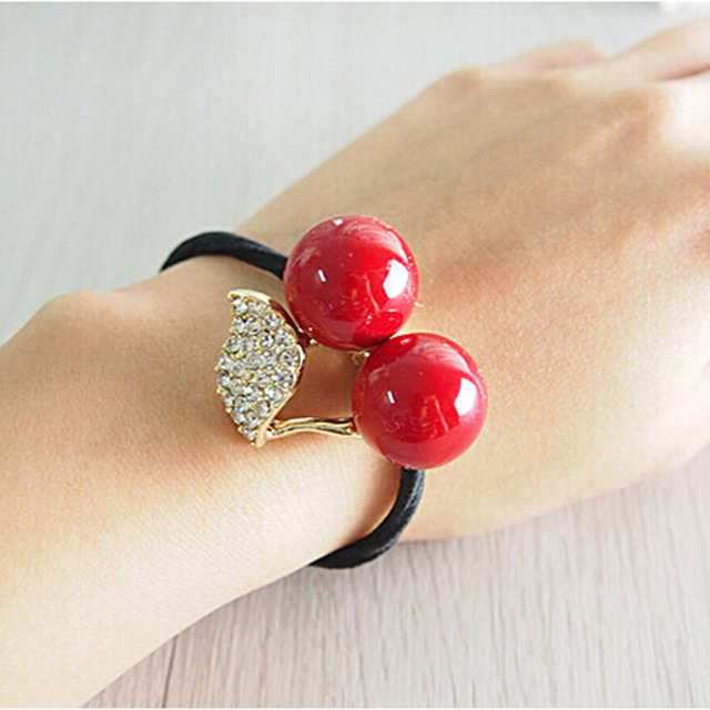 Red White Simulated Pearl Crystal Cherry Rubber Band