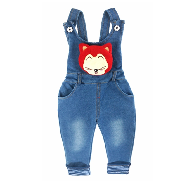 ed0b4125b4aa 9M-4T Baby Girls Denim Overalls Cute Fox Pocket Rompers Infant Toddler Kids  Jeans Jumpsuit