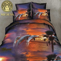 Real 3d Dolphin Bedding Set Duvet Doona Cover Bed Sheet Pillow Cases 4pcs Queen Size Velvety