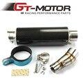 GT Motor - E-MARK Motorcycle Exhaust middle pipe + Muffler for Kawasaki Z250 08-15 Ninja 300 13-16 Ninja 250R 08-12