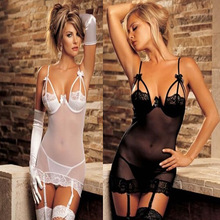 Temptation sex products sexy lingerie hot black white Perspective chemise Night Sleepwear open bra+G-thongs lingerie set