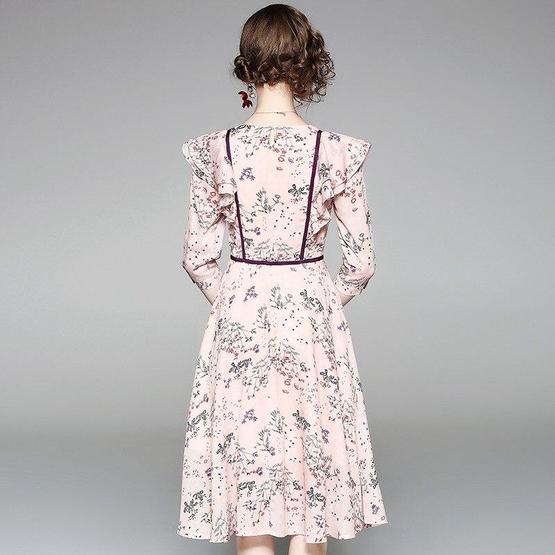 Floral Impression Slim Dames Robe Mousseline ligne 80655 En Soie Volants Été 2018 De Imprimé Casual Femmes A Nouveau wqYd7H00a