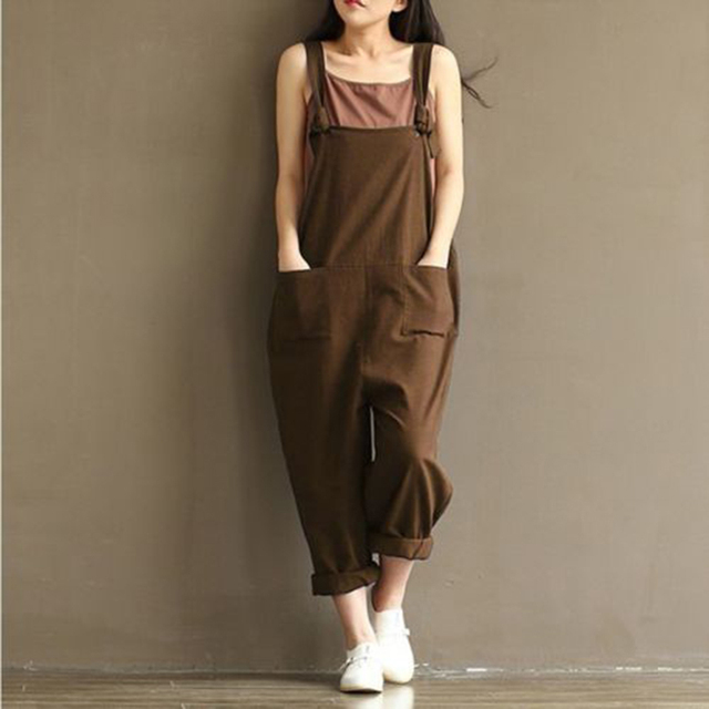 c66a552838e Casual Women s Jumpsuits Fashion Loose Woman Linen Romper Sleeveless Female  Cotton Blend Jumpsuits Solid Ladies Harem Rompers