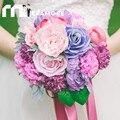 Западные Открытый Свадебные Букеты 2017 Реальные Фотографии Фиолетовый Букет Де Mariage Искусственный Брошь Букет Холдинг Цветок