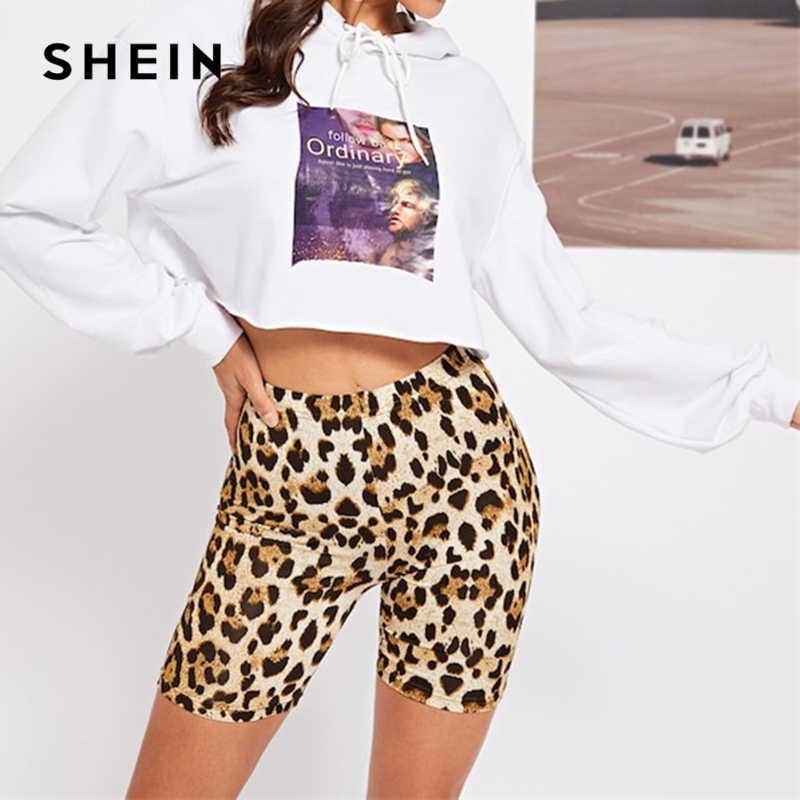 SHEIN Multicolor Casual Highstreet Della Stampa Del Leopardo Skinny Breve Legging di Estate Donna Moderna Athleisure Donne Crop Pantaloni