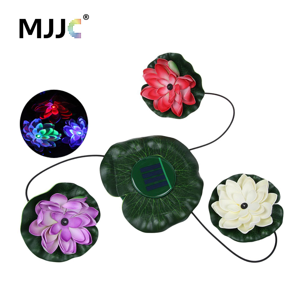 Solar Powered 3 LED Lotus Flower Floating Lights Pond Pool Landscape Night Lamp