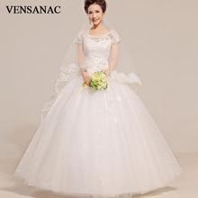 VENSANAC 2018 Pearls O Neck Flowers Sash Ball Gown Wedding Dresses Lace Appliques Short Cap Sleeve Backless Bridal Dress