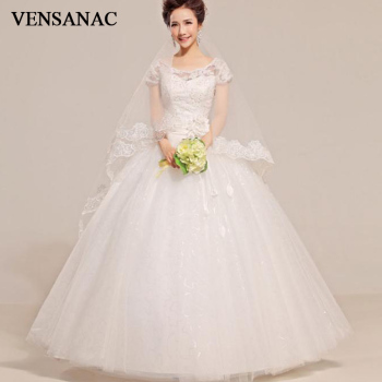 VENSANAC 2018 Pearls O Neck Flowers Sash Ball Gown Wedding Dresses Lace Appliques Short Cap Sleeve Backless Bridal Dress
