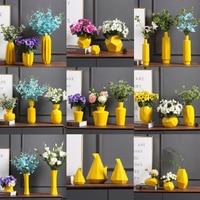 Yellow Simple Morden Vase Home Decoration Accessories Flower Vase for Vase Vase for Wedding Decoration Vazo Dekorasyon Ev