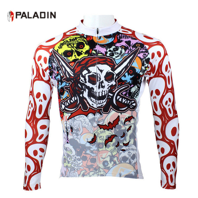 a9f1aac1e PALADIN Cycling Clothing Jersey Long Sleeve Autumn Sports Men Full Skull Cycle  Bicycle Clothes Rear Pockets Zippered Top Shirt