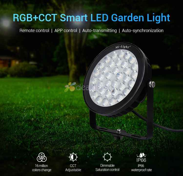 Mi.Light 25W RGB+CCT LED Garden Light FUTC03 IP65 Waterproof AC110V- 220V Outdoor Lighting 2.4G Controller