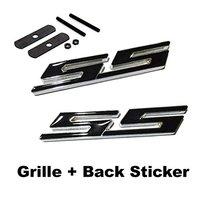 2pcs Sets SS Front Grille Black Back Sticker Car Emblem Badge For CHEVROLET CRUZE Silverado MALIBU