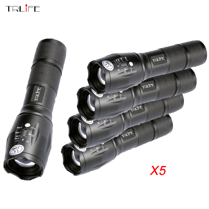 1/3/5 PCS 8000 Lumens Flashlight 5-Mode T6/L2 LED Flashlight Zoomable Focus Torch by 1*18650 Battery or 3*AAA Battery new 612 450lm 3 mode white flashlight iron grey 1 x 18650