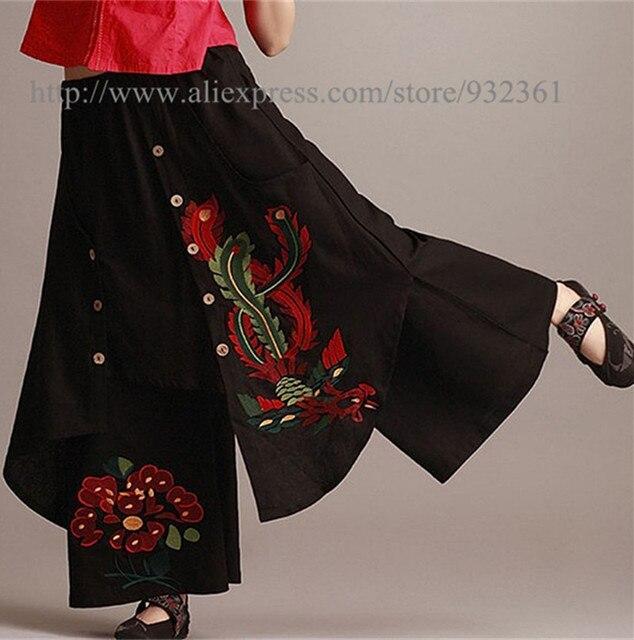 7da799c5e34 Vintage 70s Mexican Ethnic Floral Embroidery Long Skirt BOHO Hippie Maxi  Skirt Casual Skirts womens,Saias femininas Saia longa