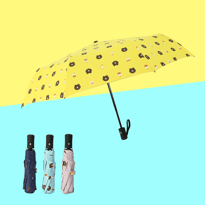 Cute Cartoon Bear Three Folding Sun Umbrella Student Portable Automatic Parasol UV Protection Men And Women Rain Sunny Umbrella 15pcs windproof reverse folding double layer inverted chuva umbrella self stand inside out rain protection c hook hands for car