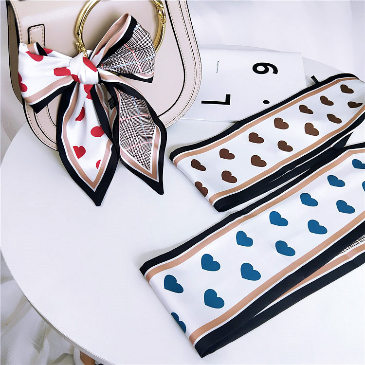 Love Pointy Scarf Scarf Female Spring And Autumn Summer Joker Ribbon Wrist Bag Belt Hundred Change Scarf Hair Belt