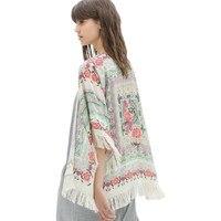 2018 المرأة أزياء الطباعة الأزهار قميص المفتوحة غرزة كيمونو بلوزات الشيفون بوهو الشرابة محبوك الخريف الساخن بيع القمصان