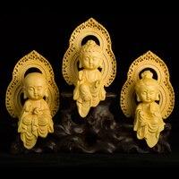 Резьба по дереву статуя Будды милый мультфильм священные места Тибетский буддизм статуя Будды украшения Ремесла статуи для домашнего деко