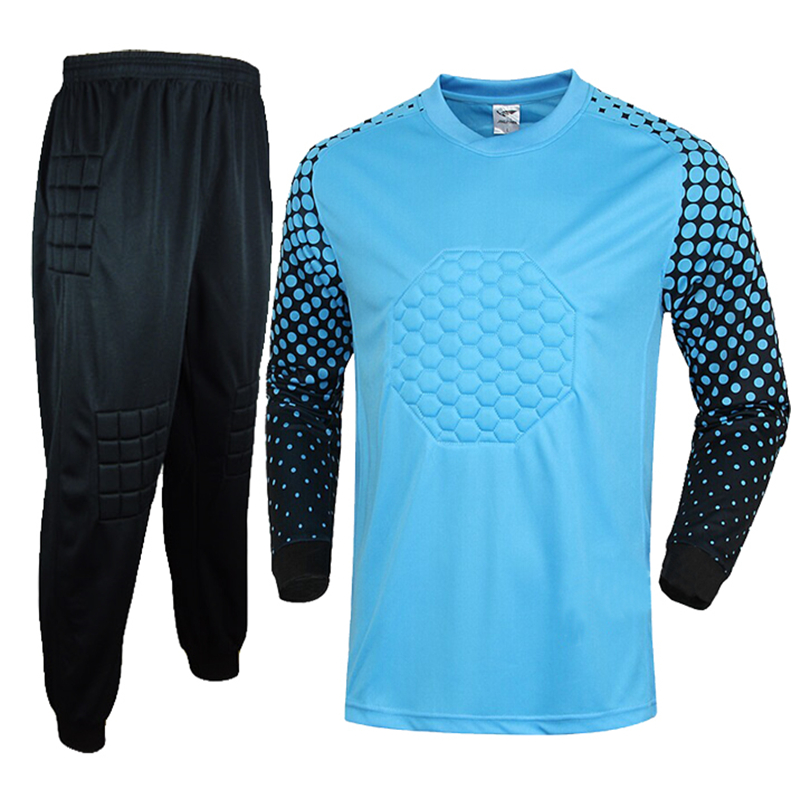 Nuevos hombres fútbol portero Jersey set hombres fútbol esponja manga larga  guardameta uniformes portero traje de entrenamiento deportivo a1d85583b51b4